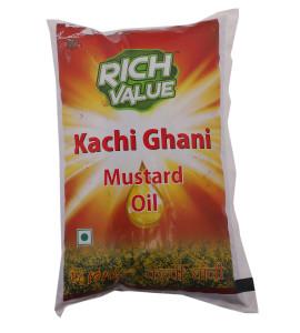Rich Value Kachi Ghani Mustard Oil 1 Ltr Pouch